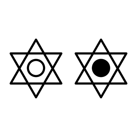 Pentagram line and glyph icon. Six pointed star vector illustration isolated on white. Star of David outline style design, designed for web and app. Eps 10. Illustration
