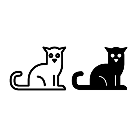 Black cat line and glyph icon. Pet vector illustration isolated on white. Animal outline style design, designed for web and app. Eps 10 Illustration