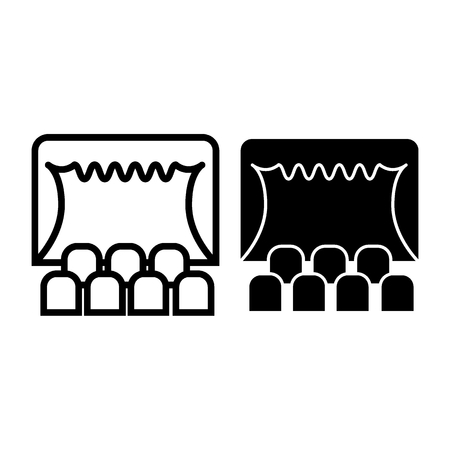 Theater line and glyph icon. Curtain on stage vector illustration isolated on white. Theater stage outline style design, designed for web and app. Eps 10. Illustration