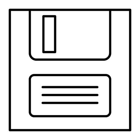 Dateisymbol dünne Linie speichern. Diskettenvektorillustration lokalisiert auf Weiß. Design im Disc-Umriss-Stil, entwickelt für Web und App. eps 10 Vektorgrafik