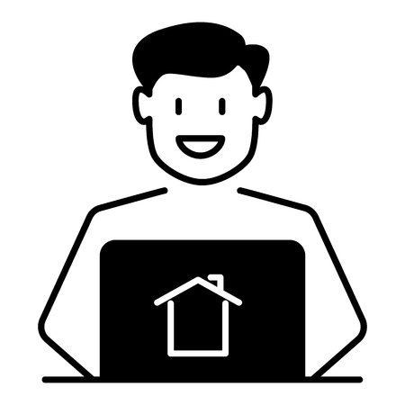 solid icon. Man broker vector illustration isolated on white. Real estate agent glyph style design, designed for web and app. Eps 10.