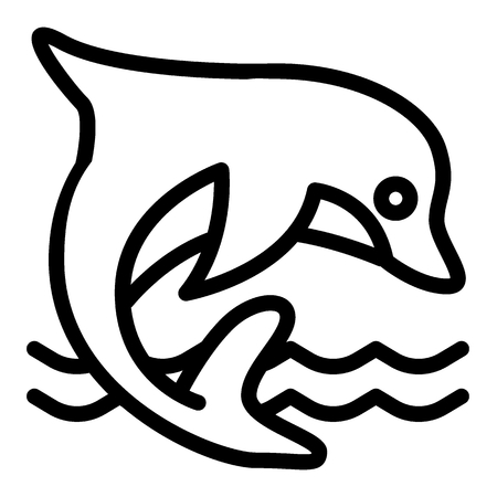 Dolphin line icon. Aquatic mammal vector illustration isolated on white. Dolphin jumping in the sea outline style design, designed for web and app. Eps 10