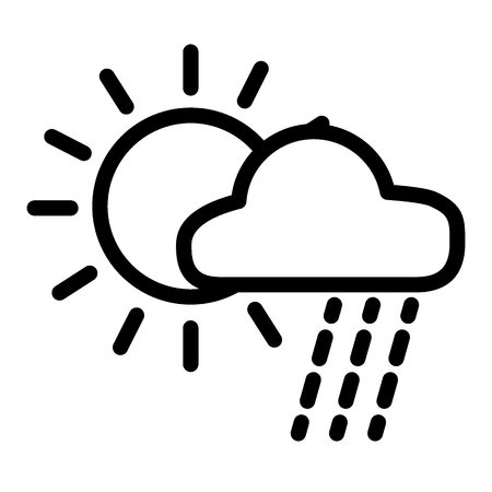 Rain and sun line icon. Weather vector illustration isolated on white. Cloud and sun outline style design, designed for web and app. Eps 10