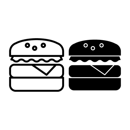 Hamburger line and glyph icon. Fast food vector illustration isolated on white. Burger outline style design, designed for web and app. Eps 10