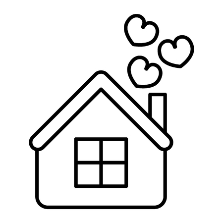 House with hearts thin line icon. Home vector illustration isolated on white. Love outline style design, designed for web and app. Eps 10.