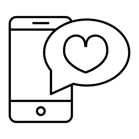Romantic message thin line icon. Smartphone with heart vector illustration isolated on white. Love message outline style design, designed for web and app. Eps 10