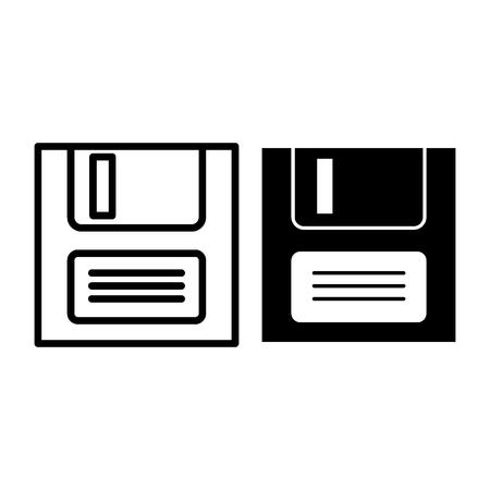 Icône de ligne et glyphe d'enregistrement de fichier. Illustration vectorielle de disquette isolée sur blanc. Conception de style de contour de disque, conçue pour le Web et l'application. Eps 10