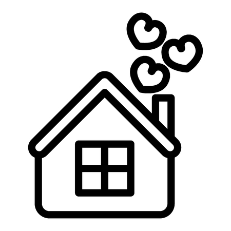 House with hearts line icon. Home vector illustration isolated on white. Love outline style design, designed for web and app.