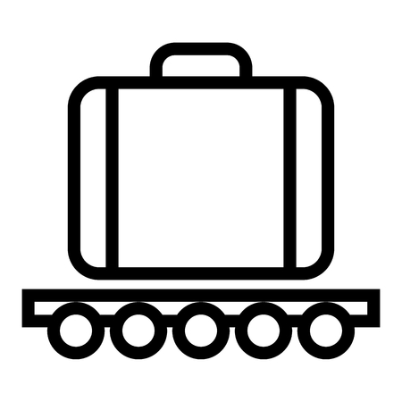 Luggage on a wheelbarrow line icon. Cargo vector illustration isolated on white. Transportation outline style design, designed for web and app. Eps 10