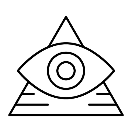All seeing eye thin line icon. Pyramid with eye vector illustration isolated on white. Triangle and eye outline style design, designed for web and app.