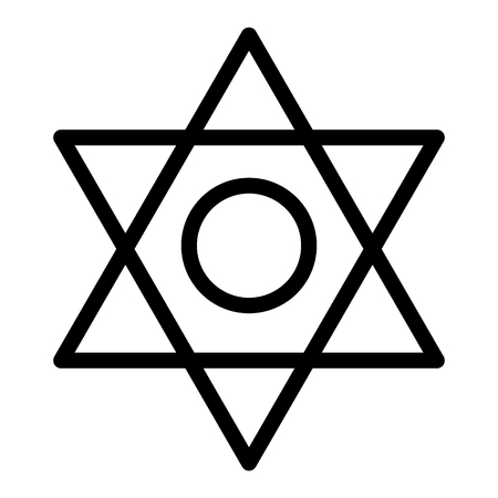 Pentagram line icon. Six pointed star vector illustration isolated on white. Star of David outline style design, designed for web and app. Illustration