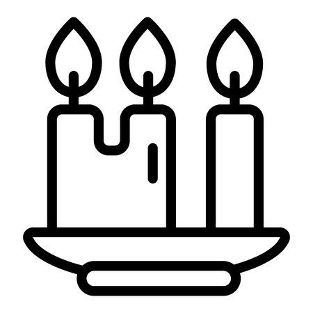 Candles line icon. Candlestick with three candles vector illustration isolated on white. Light outline style design, designed for web and app. Eps 10 向量圖像