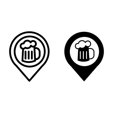 Map pin pointer glass of beer line and glyph icon. Location beer mug vector illustration isolated on white. Pin with beer outline style design, designed for web and app.