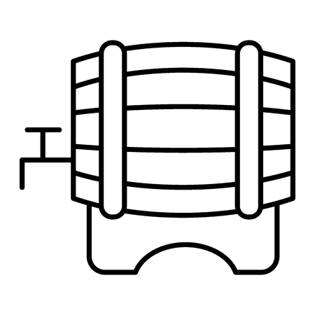 Beer barrel thin line icon. Cask of beer with a tap vector illustration isolated on white. Wooden keg outline style design, designed for web and app. Eps 10