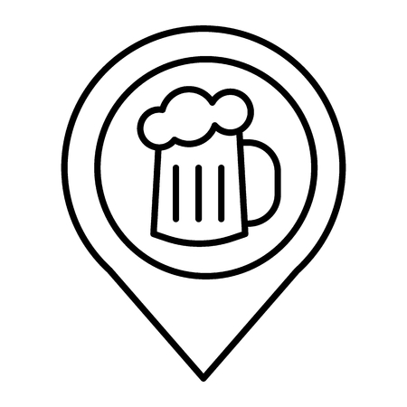 Map pin pointer glass of beer thin line icon. Location beer mug vector illustration isolated on white. Pin with beer outline style design, designed for web and app.