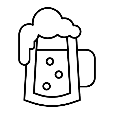 Glass of beer with bubbles thin line icon. Foamy glass of beer vector illustration isolated on white. Beer mug with froth outline style design, designed for web and app.