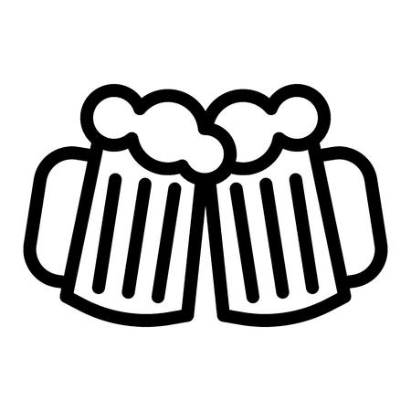 Zwei Gläser Bierlinienikone. Cheers Bierkrüge Vektorillustration lokalisiert auf Weiß. Bier Toastbecher skizzieren Stil Design, entworfen für Web und App.