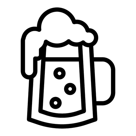 Glass of beer with bubbles line icon. Foamy glass of beer vector illustration isolated on white. Beer mug with froth outline style design, designed for web and app.