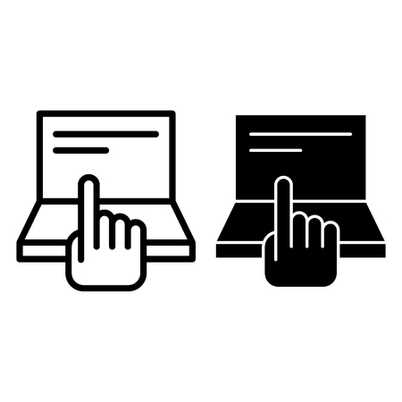 Pointing hand and laptop line and glyph icon. Computer and hand vector illustration isolated on white. Finger aiming on screen outline style design, designed for web and app. Eps 10