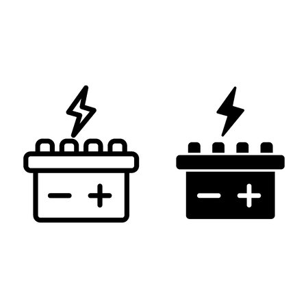 Car battery line and glyph icon. Accumulator vector illustration isolated on white. Electricity outline style design, designed for web and app. Eps 10 Иллюстрация