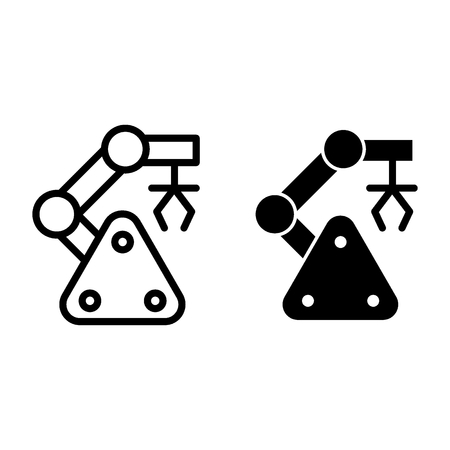 Robotic claw line and glyph icon. Mechanical hand vector illustration isolated on white. Machine outline style design, designed for web and app. Eps 10 Vettoriali