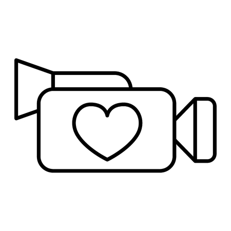 Camera thin line icon. Video camera with heart vector illustration isolated on white. Wedding video outline style design, designed for web and app. Eps 10 Vektorgrafik