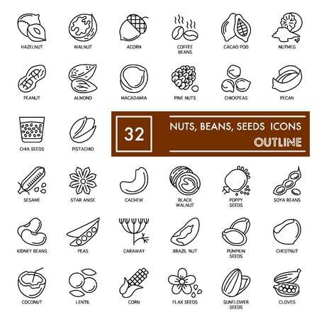 Nuts, beans and seeds with inscription line icon set, food symbols collection, vector sketches, agriculture signs linear pictograms package isolated on white background,