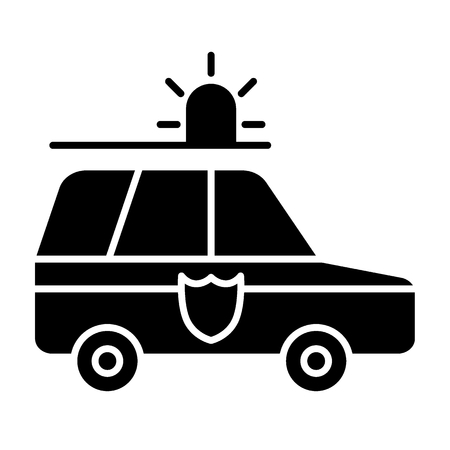 Police car solid icon. Police automobile illustration isolated on white. Transport glyph style design, designed for web and app. 向量圖像