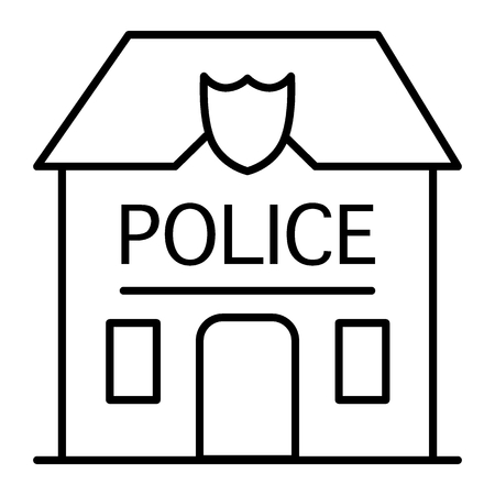 Police station badge thin line icon. Police department illustration isolated on white. Police office outline style design, designed for web and app. Eps 10