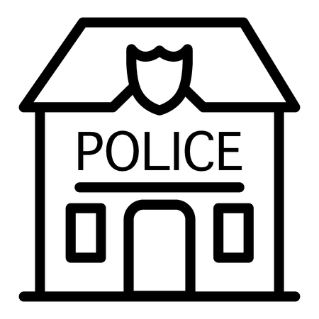 Police station badge line icon. Police department illustration isolated on white. Police office outline style design, designed for web and app. Eps 10 Illusztráció