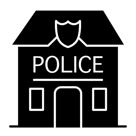 Police station badge solid icon. Police department illustration isolated on white. Police office glyph style design, designed for web and app. Eps 10 Illusztráció