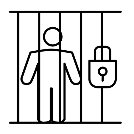 Criminal in prison thin line icon. Prisioner in jail illustration isolated on white. Person in cell outline style design, designed for web and app. Eps 10