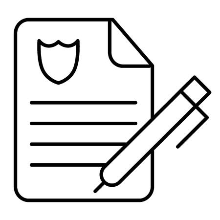 Icône de fine ligne de rapport de police. Illustration de papier ordre de police isolé sur blanc. Conception de style de contour de document de police, conçue pour le web et l'application Vecteurs