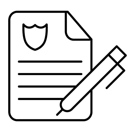 Police report thin line icon. Police order paper illustration isolated on white. Police document outline style design, designed for web and app Vektorové ilustrace