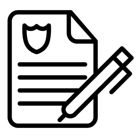 Icône de ligne de rapport de police. Illustration de papier ordre de police isolé sur blanc. Conception de style de contour de document de police, conçue pour le web et l'application. Vecteurs