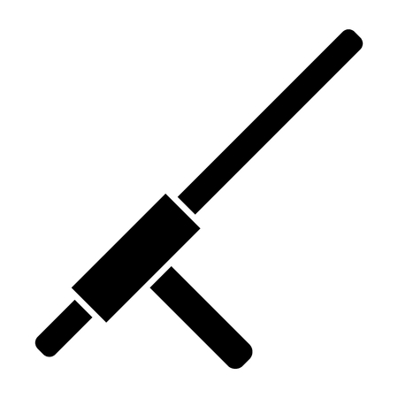 Police baton solid icon. Cannon illustration isolated on white. Police stick glyph style design, designed for web and app. 向量圖像