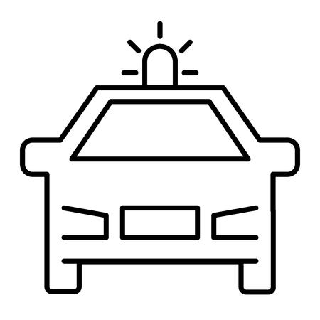 Polizeiwagen dünne Linie Symbol. Patrouillenautoillustration lokalisiert auf Weiß. Cop Auto Outline Style Design, entwickelt für Web und App. Eps 10 Vektorgrafik