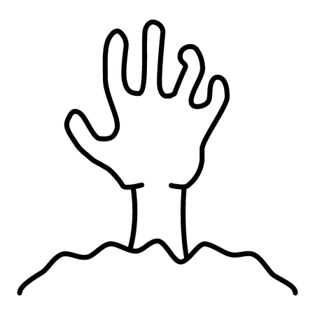 Zombie hand thin line icon. Undead vector illustration isolated on white. Monster outline style design, designed for web and app. Eps 10