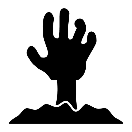 Zombie hand solid icon. Undead vector illustration isolated on white. Monster glyph style design, designed for web and app. Eps 10 Illustration