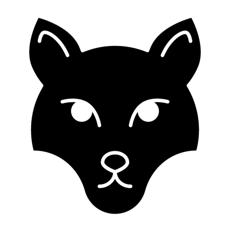 Fox mask solid icon. Muzzle fox vector illustration isolated on white. Animal face glyph style design, designed for web and app Illustration