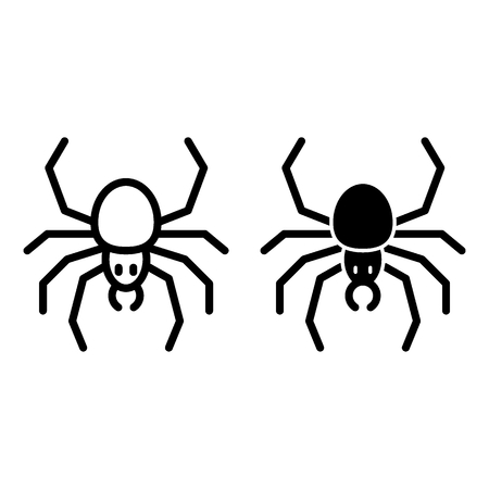 Spider line and glyph icon. Arachnid vector illustration isolated on white. Insect outline style design, designed for web and app. Çizim
