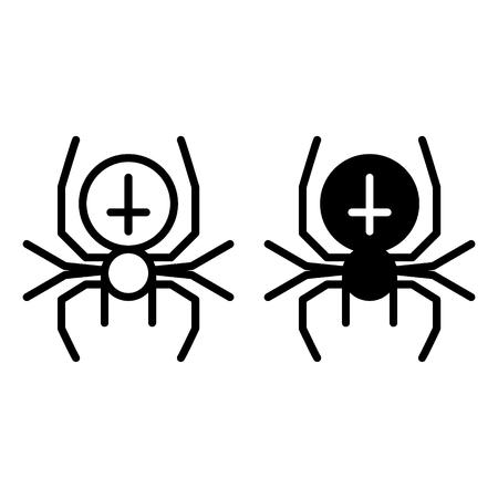 Spider with the cross line and glyph icon. Arachnid vector illustration isolated on white. Black widow outline style design, designed for web and app. Çizim