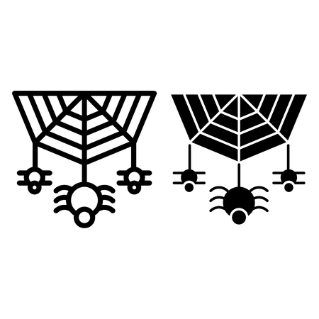Spider on the web line and glyph icon. Cobweb with the spider vector illustration isolated on white. Arachnid outline style design, designed for web and app