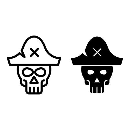 Crâne en ligne de chapeau de pirate et icône de glyphe. Illustration de vecteur web squelette isolé sur blanc. Conception de style de contour de symbole de pirate, conçue pour le web et l'application Vecteurs