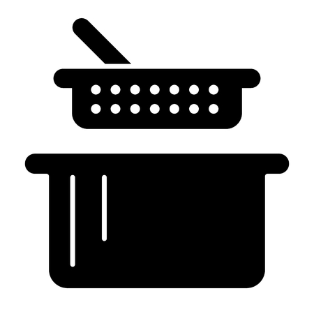 Sieve and pan solid icon. Colander and casserole vector illustration isolated on white. Kitchenware glyph style design, designed for web and app.