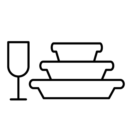 Pile of plates and glass thin line icon. Stemware and stack of dishes vector illustration isolated on white. Dishware outline style design, designed for web and app. Eps 10