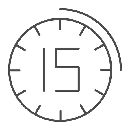 Fifteen minutes watch thin line icon. 15 minutes time vector illustration isolated on white. Clock outline style design, designed for web and app. Eps 10