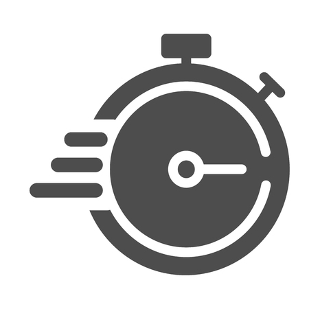 Deadline solid icon. Timer with lines vector illustration isolated on white. Stopwatch glyph style design, designed for web and app.