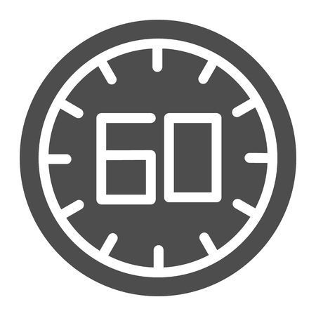 60 seconds solid icon. 60 minutes time vector illustration isolated on white. One hour glyph style design, designed for web and app. Eps 10