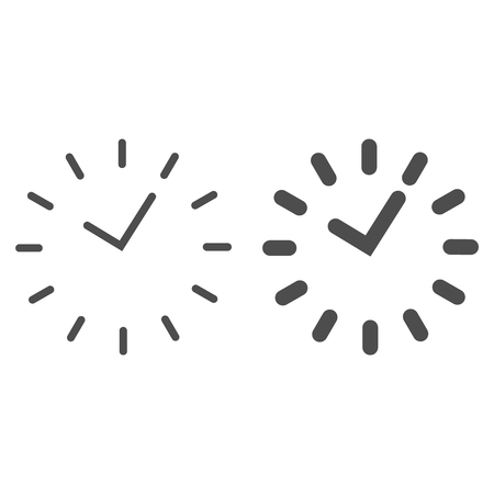Time line and glyph icon. Division on the dial vector illustration isolated on white. Watch outline style design, designed for web and app. Eps 10